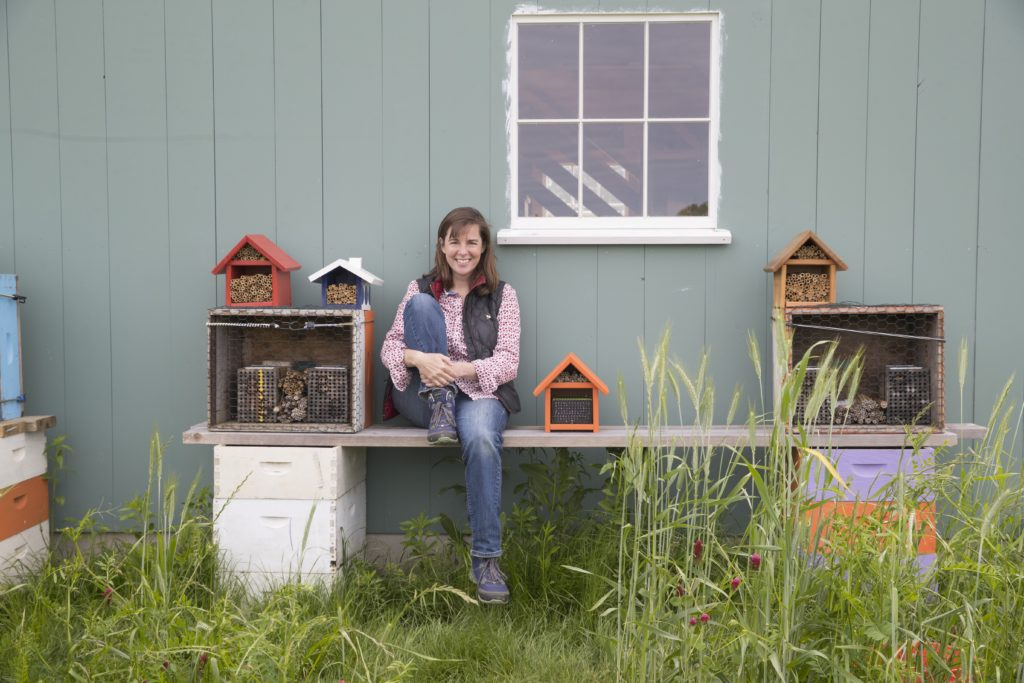 Laura Klahre at her farm in Southold